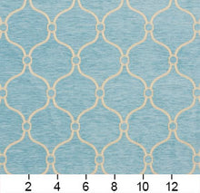 Load image into Gallery viewer, Essentials Chenille Blue White Geometric Trellis Upholstery Fabric