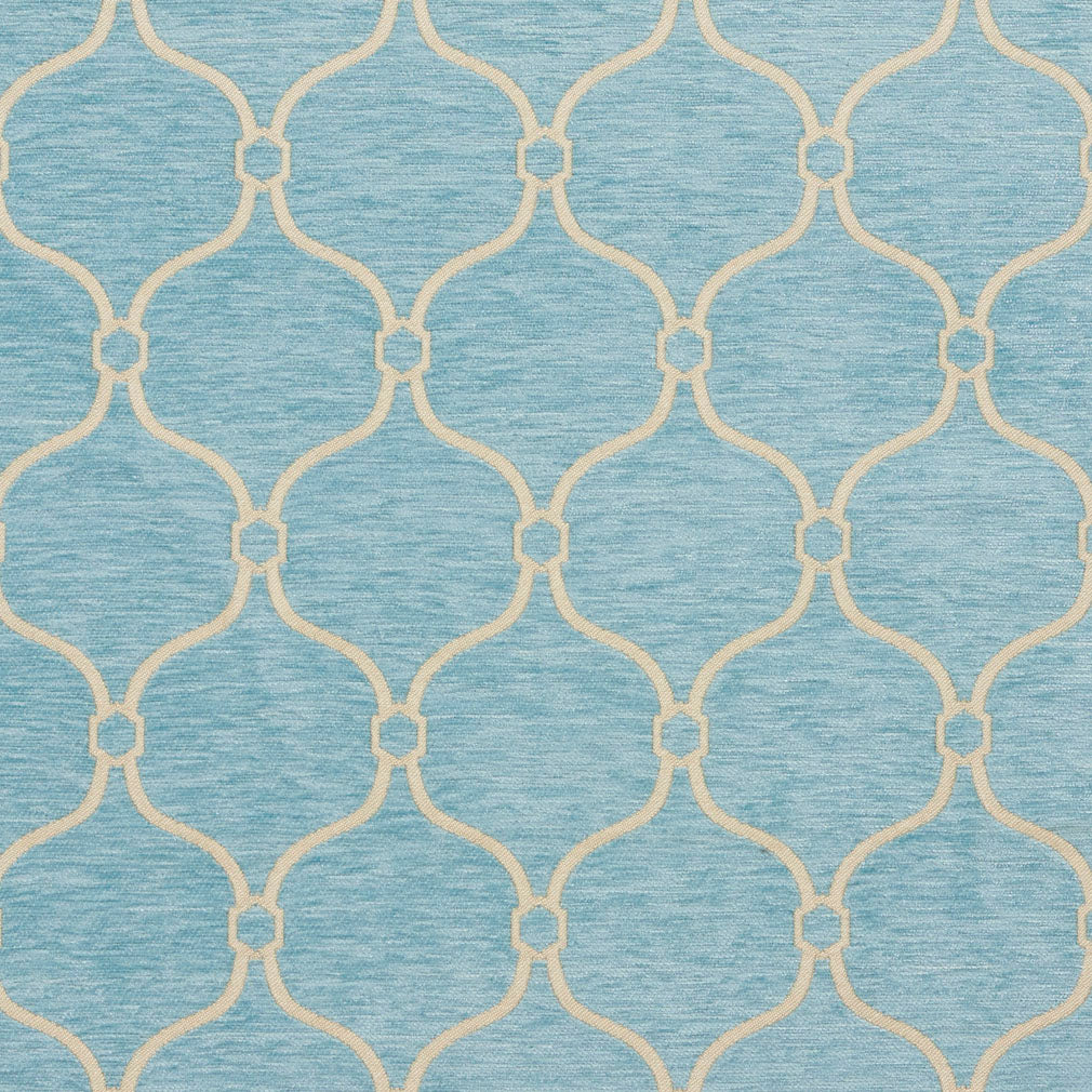 Essentials Chenille Blue White Geometric Trellis Upholstery Fabric