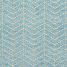 Load image into Gallery viewer, Essentials Chenille Blue White Geometric Zig Zag Chevron Upholstery Fabric