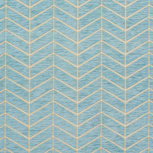 Essentials Chenille Blue White Geometric Zig Zag Chevron Upholstery Fabric