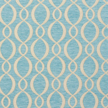 Load image into Gallery viewer, Essentials Chenille Blue White Oval Trellis Upholstery Fabric