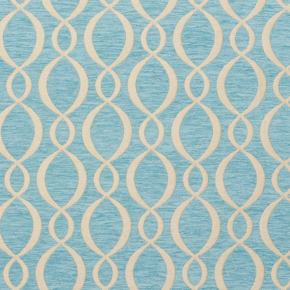 Essentials Chenille Blue White Oval Trellis Upholstery Fabric