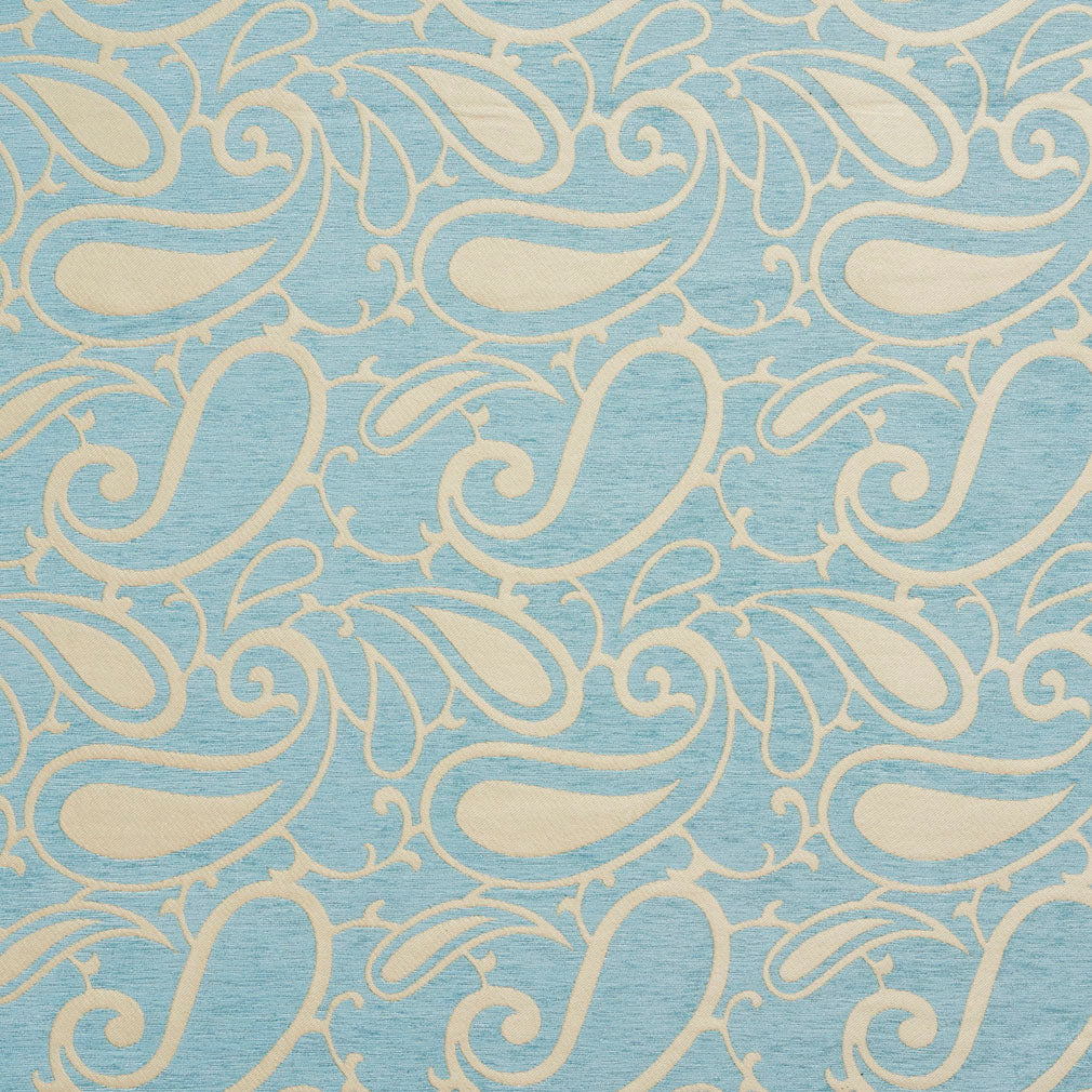 Essentials Chenille Blue White Paisley Upholstery Fabric