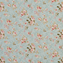 Load image into Gallery viewer, Essentials Botanical Aqua Pink Coral White Green Rose Floral Print Upholstery Drapery Fabric