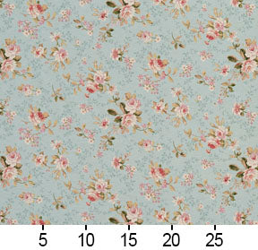 Essentials Botanical Aqua Pink Coral White Green Rose Floral Print Upholstery Drapery Fabric