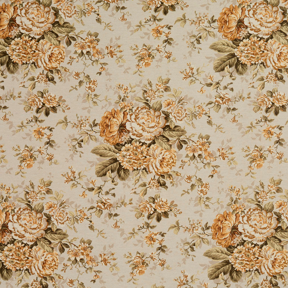 Essentials Botanical Beige Sienna Gold Ivory Green Rose Floral Print Upholstery Drapery Fabric
