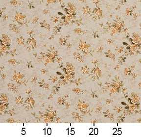 Essentials Botanical Beige Sienna Gold Green Rose Floral Print Upholstery Drapery Fabric