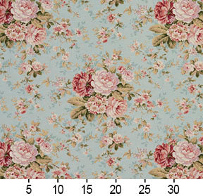 Essentials Botanical Aqua Pink Coral Burgundy Green Rose Floral Print Upholstery Drapery Fabric
