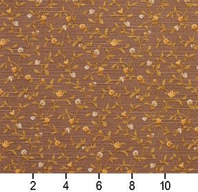 Essentials Botanical Brown Gold Beige Rose Floral Print Upholstery Drapery Fabric