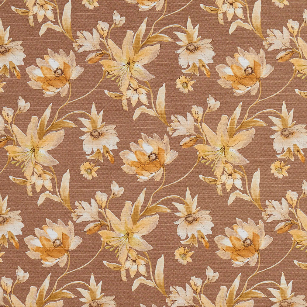Essentials Botanical Brown Gold Tan White Rose Floral Print Upholstery Drapery Fabric