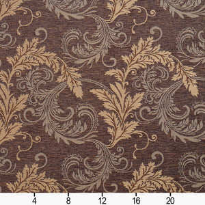 Essentials Heavy Duty Upholstery Drapery Botanical Fabric Brown / Java Leaf