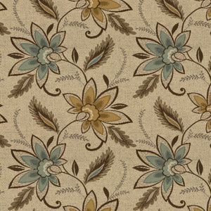 Essentials Outdoor Upholstery Drapery Botanical Fabric / Brown Olive Blue