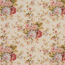 Load image into Gallery viewer, Essentials Botanical Creamy Coral Ivory Burgundy Green Rose Floral Print Upholstery Drapery Fabric