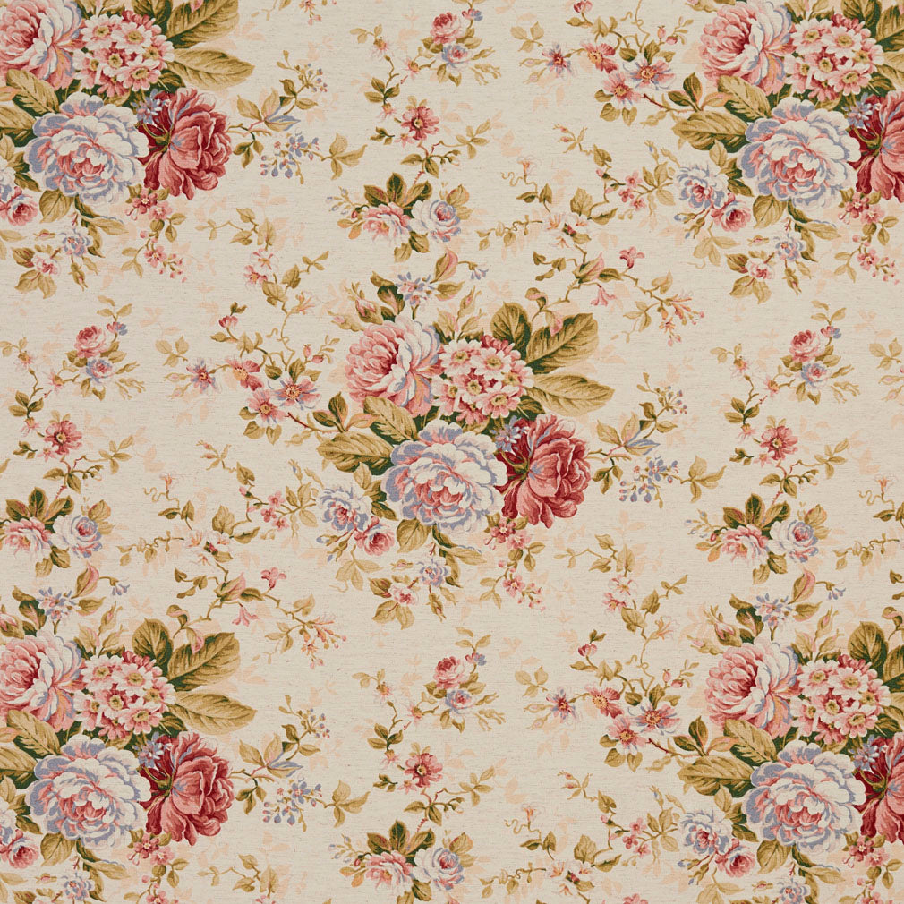 Essentials Botanical Creamy Coral Ivory Burgundy Green Rose Floral Print Upholstery Drapery Fabric
