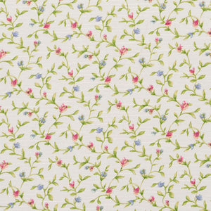 Essentials Botanical Crimson Blue Lime White Rose Floral Print Upholstery Drapery Fabric