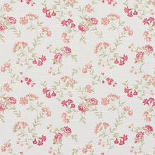 Load image into Gallery viewer, Essentials Botanical Crimson Coral Green White Rose Floral Print Upholstery Drapery Fabric