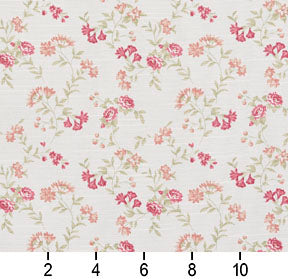 Essentials Botanical Crimson Coral Green White Rose Floral Print Upholstery Drapery Fabric