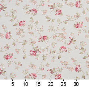 Essentials Botanical Crimson Green White Rose Floral Print Upholstery Drapery Fabric