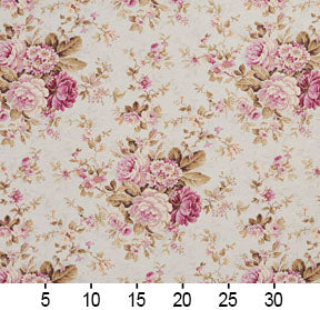 Essentials Botanical Ivory Pink Mauve Green Rose Floral Print Upholstery Drapery Fabric