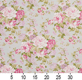 Essentials Botanical Ivory Pink White Hot Pink Mauve Green Rose Floral Print Upholstery Drapery Fabric