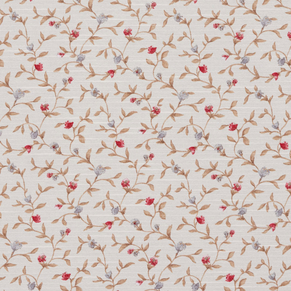 Essentials Botanical Ivory Red Blue Sienna Rose Floral Print Upholstery Drapery Fabric