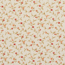 Load image into Gallery viewer, Essentials Botanical Ivory Red Orange Olive Rose Floral Print Upholstery Drapery Fabric