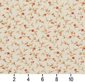 Essentials Botanical Ivory Red Orange Olive Rose Floral Print Upholstery Drapery Fabric