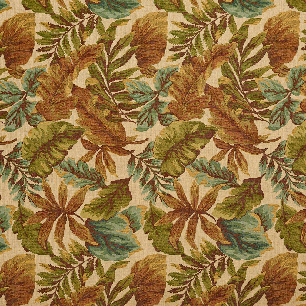 Essentials Outdoor Upholstery Drapery Botanical Leaf Fabric / Beige Blue Green