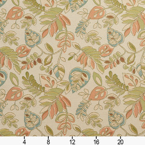 Essentials Outdoor Upholstery Drapery Botanical Leaf Fabric / Beige Coral Green