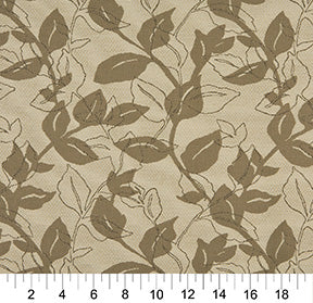 Essentials Outdoor Upholstery Drapery Botanical Leaf Fabric / Tan Gray