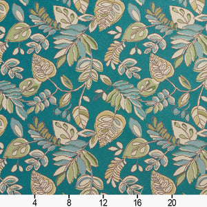 Essentials Outdoor Upholstery Drapery Botanical Leaf Fabric / Teal Green Beige