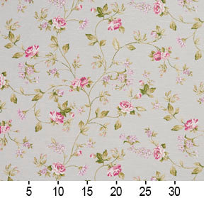 Essentials Botanical Light Blue Pink White Green Rose Floral Print Upholstery Drapery Fabric