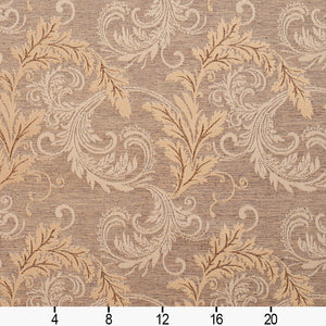 Essentials Heavy Duty Upholstery Drapery Botanical Fabric Light Brown / Antique Leaf
