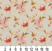 Load image into Gallery viewer, Essentials Botanical Maroon Coral Orange Olive Ivory Rose Floral Print Upholstery Drapery Fabric