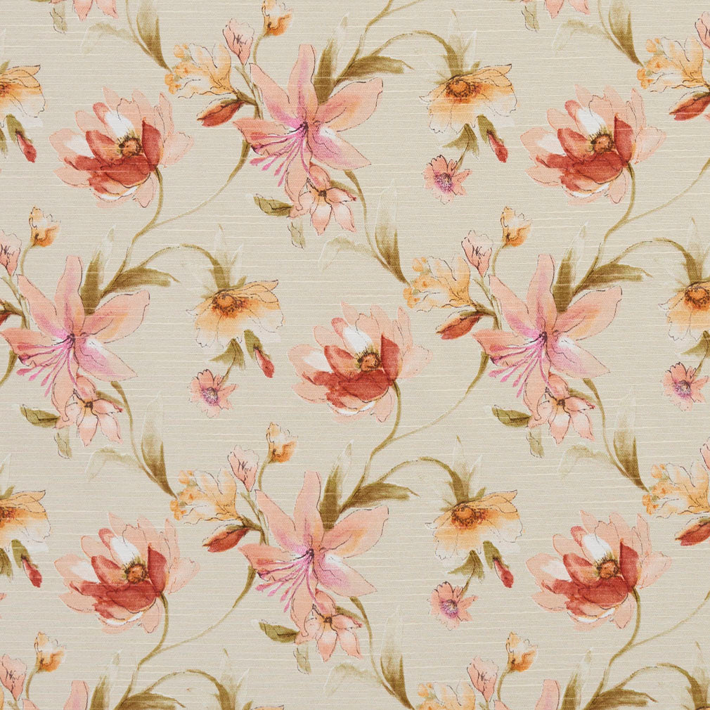 Essentials Botanical Maroon Coral Orange Olive Ivory Rose Floral Print Upholstery Drapery Fabric