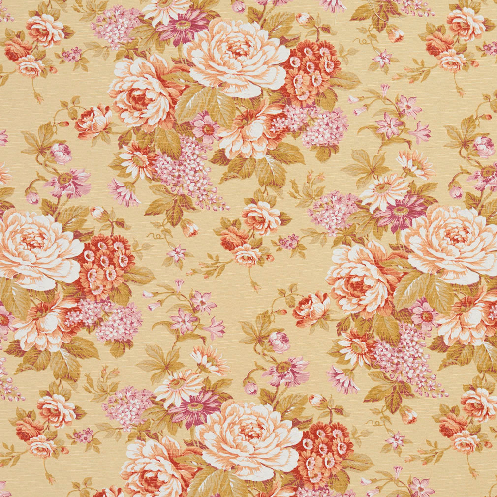 Essentials Botanical Mustard Coral White Red Mauve Olive Rose Floral Print Upholstery Drapery Fabric