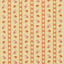 Load image into Gallery viewer, Essentials Botanical Mustard Orange Mauve Olive Rose Floral Stripe Print Upholstery Drapery Fabric
