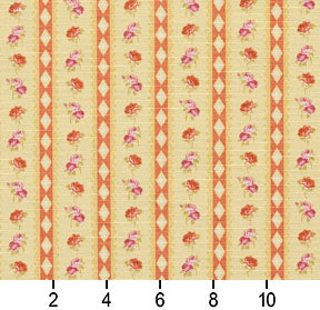Essentials Botanical Mustard Orange Mauve Olive Rose Floral Stripe Print Upholstery Drapery Fabric