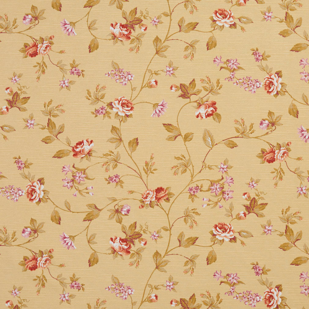 Essentials Botanical Mustard Red Mauve White Olive Rose Floral Print Upholstery Drapery Fabric