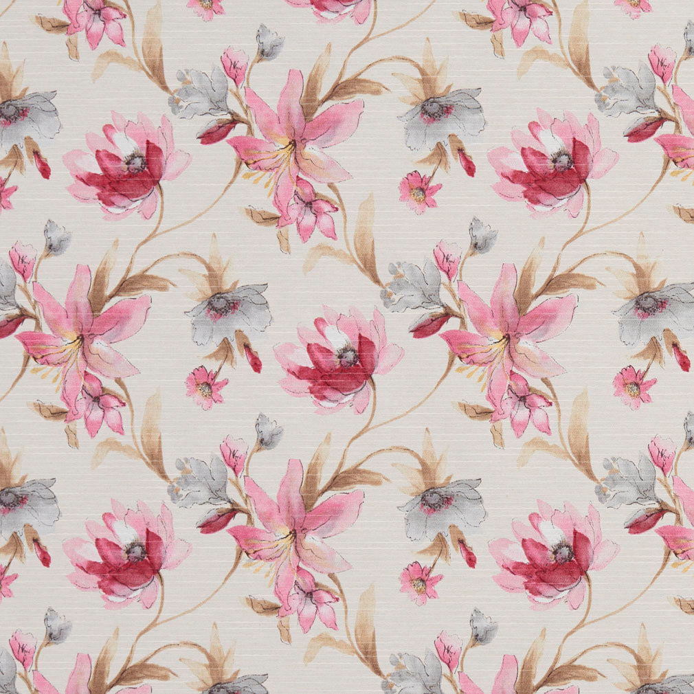 Essentials Botanical Navy Crimson Pink Sienna White Rose Floral Print Upholstery Drapery Fabric