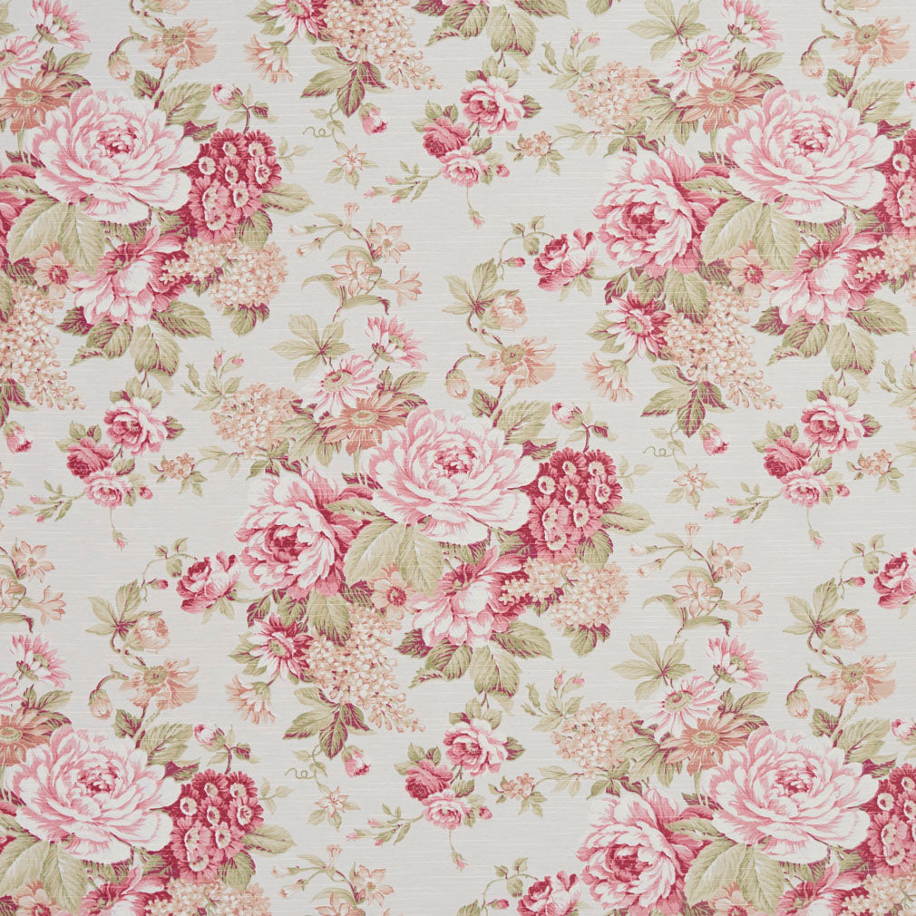 Pink Crimson Green Floral Upholstery Drapery Fabric Fabric Bistro