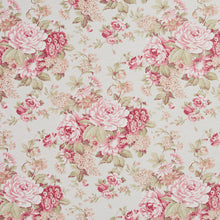 Load image into Gallery viewer, Essentials Botanical Pink White Crimson Coral Green Rose Floral Print Upholstery Drapery Fabric