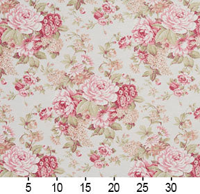 Essentials Botanical Pink White Crimson Coral Green Rose Floral Print Upholstery Drapery Fabric
