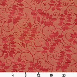 Essentials Indoor Outdoor Upholstery Drapery Botanical Fabric Red / Ruby Vine