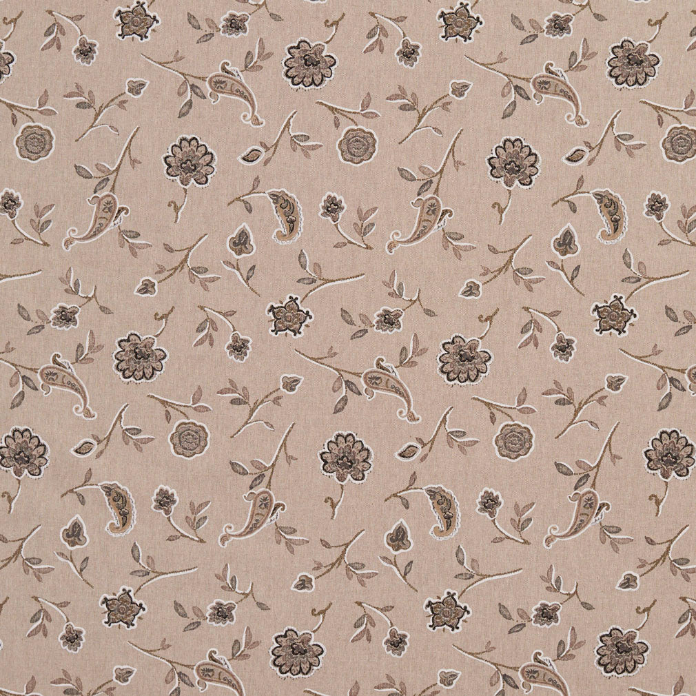 Essentials Botanical Tan Brown Black Rose Floral Print Upholstery Drapery Fabric