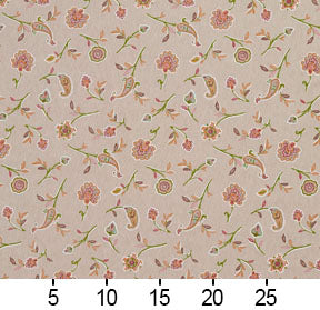 Essentials Botanical Tan Coral Lime Rose Floral Print Upholstery Drapery Fabric