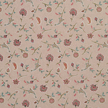 Load image into Gallery viewer, Essentials Botanical Tan Teal Coral Red Rose Floral Print Upholstery Drapery Fabric