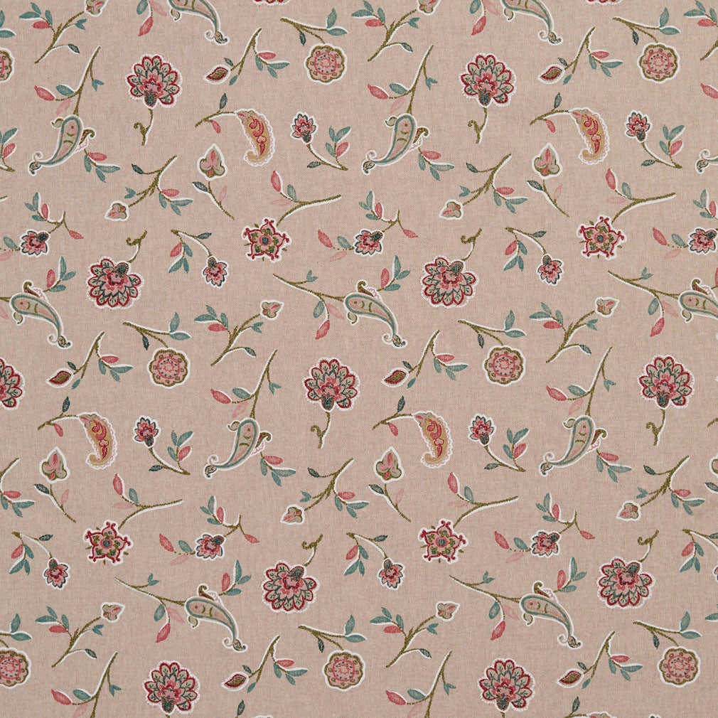 Essentials Botanical Tan Teal Coral Red Rose Floral Print Upholstery Drapery Fabric