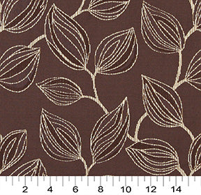 Essentials Cityscapes Brown Beige Botanical Leaf Pattern Upholstery Fabric