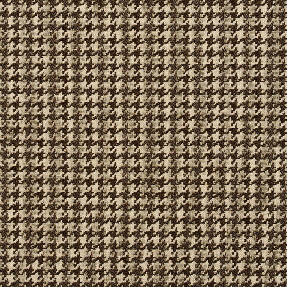 Essentials Brown White Upholstery Fabric / Desert Houndstooth